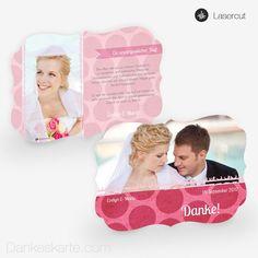 Lasercut-Dankeskarte Pink Bubbles 21 x 15cm Ornament für die Hochzeit