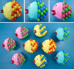 Little Fishy Cupcakes - pretty, colorful, yummy and very easy to make. This adorable Cupcake Recipe is always a crowd favorite. We promise, anyone can make these cute Fish Cupcakes. All you need are cupcakes, frosting and M&M's. Save these cute cupcakes for later and follow us for more fun cupcake decorating ideas.