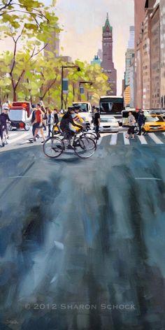 Urban Landscape Painting - New York City Street. Sharon Schock.