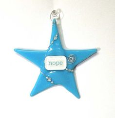 Fused Glass Christmas Ornament/ HOPE by SusanFayePetProjects #glass #ooak #ornament