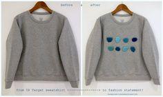 inspiration and realisation: DIY fashion blog: DIY gems on a sweatshirt before & after 5$ sweatshirt