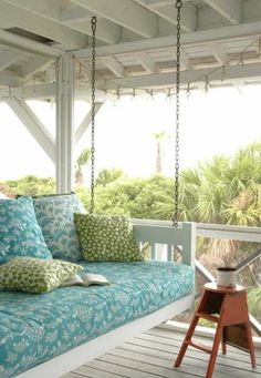 giant porch swing/day bed. This is my dream...perfect for an all day reading-and-drinking-coffee marathon!