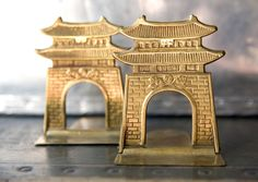 Vintage Brass Bookends - Pagoda