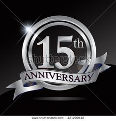 15th silver anniversary logo, 15 years anniversary celebration with ring and ribbon. - stock vector