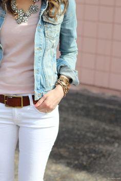 White jeans, brown belt, pastel top, statement necklace.