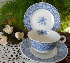 English J Maddock Sons c1945 Vitreous Ecstasy Blue Rose China 3 PC Teacup Trio | eBay