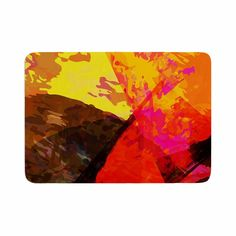 "Matthias Hennig ""Into The Fire"" Red Yellow Memory Foam Bath Mat"