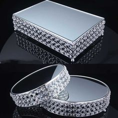 Kingart Silver Cake Stand Mirror Glass Dessert Serving Tray Fruit Plate Hotel Wedding birthday Party Event Cake Stand