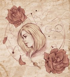 Rose Tyler portrait tattoo, I would have a symbol of Gallifrey as the background and add Bad Wolf in there.