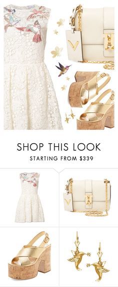 """The hummingbird"" by sharmarie ❤ liked on Polyvore featuring RED Valentino, Valentino, Miu Miu, sandals, handbag, hummingbird, crochetdresses and Crocheteddresses"