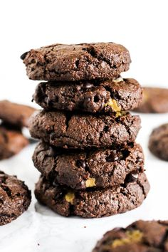 These gooey Stuffed Double Chocolate Chip Cookies are perfect treats to serve for a crowd! They're nut-free, vegan & gluten-free, so everyone can enjoy one.
