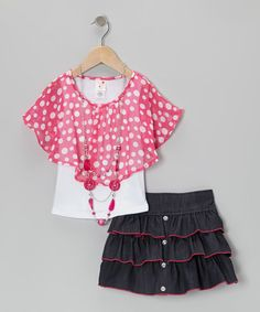 Take a look at this Pink Layered Poncho Top Set - Toddler & Girls by Candy Girl on #zulily today!