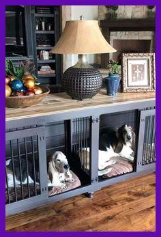 Dogs Pet Furniture can be functional and beautiful. No need to hide wire kennels in your house anymore! - Wooden dog kennels built for one and two dogs for indoor use. Check out our designer dog crate furniture and great dane kennels! Dog Crate Sizes, Diy Dog Crate, Wooden Dog Crate, Puppy Crate, Wooden Dog Kennels, Pet Kennels, Dog Kennel Designs, Dog Crate Furniture, Furniture Dog Kennel