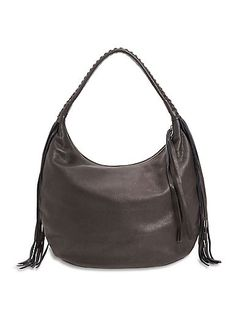 2e54018bd7d1 The Route Hobo in Black Leather featuring a Braide Handle and Fringe  Accents