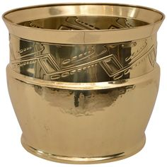 Palm Pot Brass Polished and Stove Enamelled | From a unique collection of antique and modern pottery at https://www.1stdibs.com/furniture/more-furniture-collectibles/pottery/