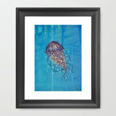 Float like a Jellyfish Framed Art Print by Jellywell Art - $31.00 #jellyfish #blue #illustration #art #jellywellart #aqua #underthesea