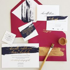 Triple weight invitation, navy letterpress, gold foil, painted edges, and lots of brushstrokes.
