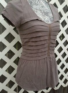RIC RAC ANTHROPOLOGIE PEPLUM CAP SLEEVE TOP M MAUVE FITTED STRETCH BLOUSE  #RICRAC #KnitTop #Casual