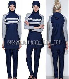 Muslim Full Coverage Stripe Splice Swimsuit Islamic Swimwear Beachwear Burkini