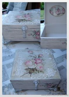 Decoupage Box, Decoupage Vintage, Shabby Chic Bathroom Accessories, Decor Crafts, Diy And Crafts, Funky Painted Furniture, Painted Trays, Shabby Chic Crafts, Beautiful Flower Arrangements