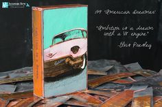"""Fall 2014 Release Kick-Off! Ships in 1-2 weeks.  Houston's new tiles are a tribute to American Industry! This vintage car design Spiritile carries the quote- """"Ambition is a dream with a V8 engine."""" - Elvis Presley."""