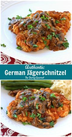Authentic German (Hunter Schnitzel with Mushroom Gravy) Pork or veal schnitzel with a mushroom sauce topped with bacon. Perfect for Oktoberfest or any time you are hankering for German fare. Schnitzel Recipes, Pork Schnitzel, Pork Recipes, Cooking Recipes, German Food Recipes, German Recipes Dinner, Pork Cutlet Recipes, Recipies, Gourmet