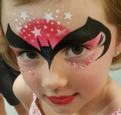 When you think about face painting designs, you probably think about simple kids face painting designs. Many people do not realize that face painting designs go Girl Face Painting, Face Painting Designs, Painting For Kids, Body Painting, Face Paintings, Bat Face Paint, Face Paint Makeup, Batgirl Face Paint, Batman Girl
