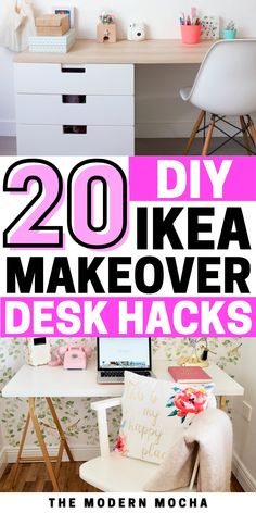 Looking for an IKEA hack or makeover for your desk or table? Check out these DIY IKEA desk hacks for your home office space! IKEA desk organization with a little bit of inspiration and DIY made easy for you! Check out all the desk ideas and IKEA hacks via themodernmocha.com. #ikeahacks #ikeadesk #deskhacks #homeoffice #organizedesk Ikea Dresser Hack, Ikea Desk, Desk Hacks, Ikea Hacks, Best Ikea, Office Makeover, Home Office Space, Desk Ideas, Desk Organization