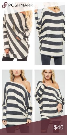 Oatmeal & Charcoal Striped Off Shoulder Dolman Top Very cute dolman top in charcoal gray and oatmeal. Tops Blouses