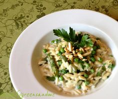 Creamy Spring Orzo Pasta.  Perfect weeknight dinner...easy and delicious!