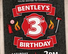 Firefighter Birthday Invitation with Editable Text por Punkyprep