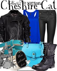 """The Cheshire cat from """"Alice in Wonderland"""" is a lovely inspiration for this Disneybound ~ I especially ♥ the purse, belt, and ring!! ♥"""