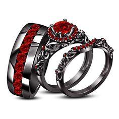 Unisex 925 Silver Wedding Trio Ring Set In Black Gold Finish Round Red Garnet #Unknown