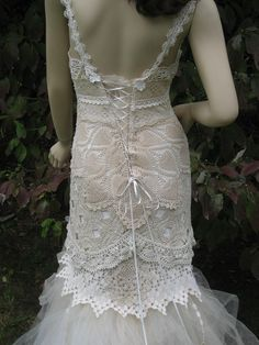 Love the detail in this handmade crochet wedding dress.