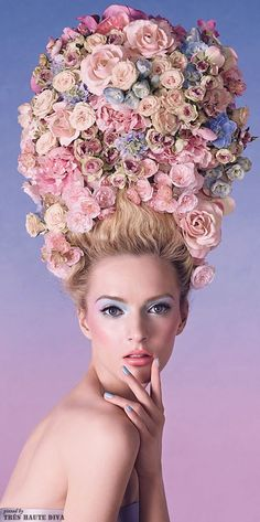 Floral headdress in Rose Quartz and Serenity blue with Serenity background