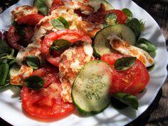 5:2 Diet, Feast Days & Fast Days, Halloumi & Tomato Salad Platter Recipe