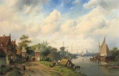 Charles Leickert, Rivierlandschap in de zomer, 1853