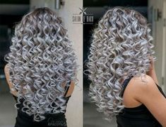 52 Ideas Hairstyles Black Girls Wedding - New Sites Grey Curly Hair, Long Gray Hair, Colored Curly Hair, Silver Grey Hair, Curly Hair Styles, Bilage Hair, New Hair, Pelo Color Plata, Pretty Hair Color