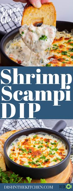 This baked hot and cheesy Shrimp Scampi Dip dip goes beyond delicious. It's a mouthwatering dip filled with all the flavours of the classic appetizer. #ShrimpScampiDip #ShrimpDip #Dip #appetizers Finger Food Appetizers, Easy Appetizer Recipes, Appetizer Dips, Shrimp Scampi Dip, Slow Cooker Dips, Best Dip Recipes, Dip Dip, Delicious Dishes, Seafood Recipes