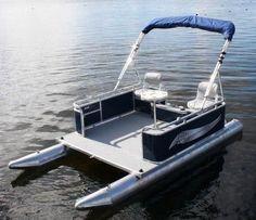 Risultati immagini per mini pontoon boat Pontoon Paddle Boats, Small Pontoon Boats, Small Fishing Boats, Small Boats, Make A Boat, Diy Boat, Pontoon Houseboat, Boat Dealer, Flats Boat