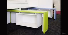 Colourful design-led collection of office storage cabinets. High and lockable storage for any modern office interior