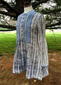 NWOT $128 Free People Artisan De Luxe Freeport Plaid Shirtdress blue gray S #ArtisanDeLuxe #distressedshirtdress #Casual