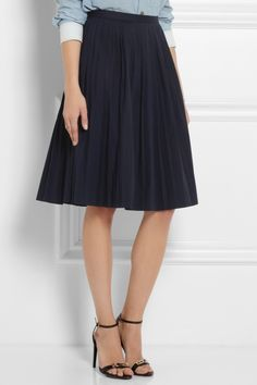 J.Crew Pleated stretch-cotton poplin skirt NET-A-PORTER.COM