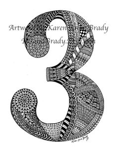 ACEO+Number+Three+Zentangle+Inspired+authorized+by+IrelandBrady,+$1.00