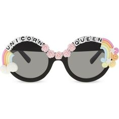 RAD AND REFINED Unicorn Queen round-frame sunglasses ($47) ❤ liked on Polyvore featuring accessories, eyewear, sunglasses, multi, round lens sunglasses, rainbow sunglasses, rose sunglasses, rose glasses and uv protection glasses