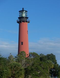 1860 Lighthouse located on Jupiter Inlet in Palm Beach County FL. The 105 ft tall lighthouse is the oldest building in Palm Beach County and later discovered that it was built on an Indian Mound.