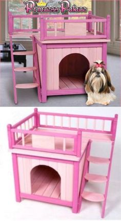 The Princess Palace by Ware Manufacturing is an adorable pet palace for your pet. It has a double decker design that provides a privacy chamber on the bottom and a lounging deck on top. #doghouse