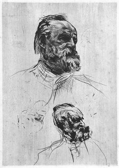Victor Hugo, Three–Quarter View, 1885 - Auguste Rodin Drypoint, second of eight described states Rodin Drawing, Guy Drawing, Figure Drawing, Drawing Sketches, Painting & Drawing, Art Drawings, Camille Claudel, Auguste Rodin, Victor Hugo