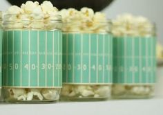 Mason Jars with Yards on them for holding popcorn - free printable