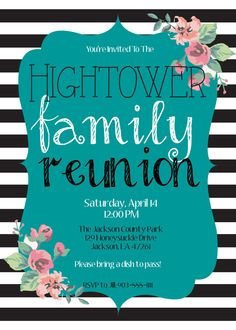 FAMILY REUNION invitation Vintage Black White Striped by MolsDesigns on Etsy, $15.00 Family summer party Family get together Family fiesta invite pot luck